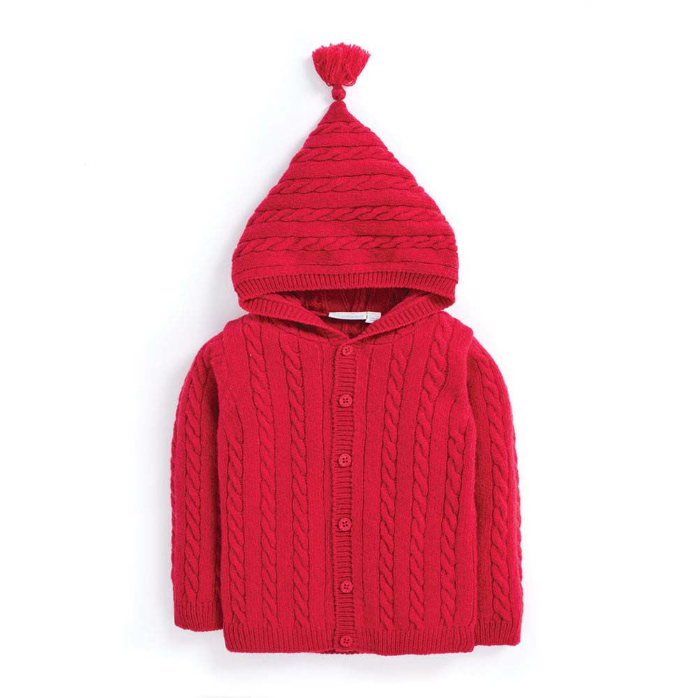 Jojo - Cable Knit Hooded Cardigan - Red - Girls Clothes (3-12 ...